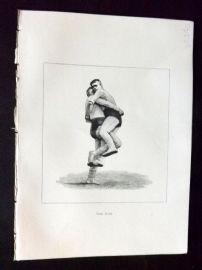 Badminton Library 1893 Antique Wrestling Print. The Hipe